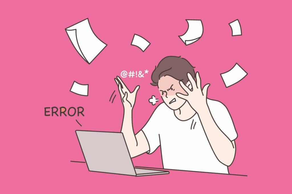 Piirroskuva miehestä, joka hermostuu tietokoneen äärellä.